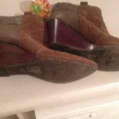 DV brown suede ankle wedge boots Brown boots are beautiful but has  broken zipper! Boots has small wear and tear! Please check out all pix. DV by Dolce Vita Shoes