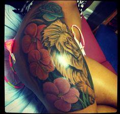 Lion Tattoo On Side Side but tattoo flowers lion Side Tattoos, Cool Tattoos, Lion Tattoo, Flower Tattoos, Ink, Simple Lion Tattoo, Tattoos Of Flowers, Floral Tattoos, Coolest Tattoo
