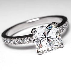 Tiffany Novo Engagement Ring w/ 2 Carat Cushion Cut Diamond in Platinum - This Tiffany & Co Novo engagement ring features a 2 carat square cushion cut diamond H in color and VVS1 in clarity. This ring is previously owned but in very good condition and was originally purchased for $45,100 plus tax in Jan of 2010