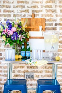 Create a little drink station on an outdoor table for guests. #ABlissfulNest #WalmartHome #ad Small House Decorating, Decorating Tips, Summer Decorating, Walmart Home, Lemon Kitchen, Affordable Furniture, Elegant Homes, Summer Parties, Home Decor Inspiration