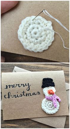 Learn how to make a crochet snowman pattern for free! This makes for a cute homemade christmas card idea. Crochet Snowman, Christmas Crochet Patterns, Holiday Crochet, Christmas Knitting, Crochet Gifts, Crochet Yarn, Homemade Christmas Cards, Handmade Christmas, Yarn Projects