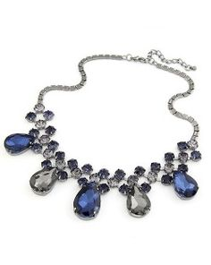 Array of Stars with Waterdrop Design Costume Short Necklace