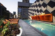 Pool, cabanas, roof deck designed by Mark Tessier Landscape Architecture, MTLA, Inc