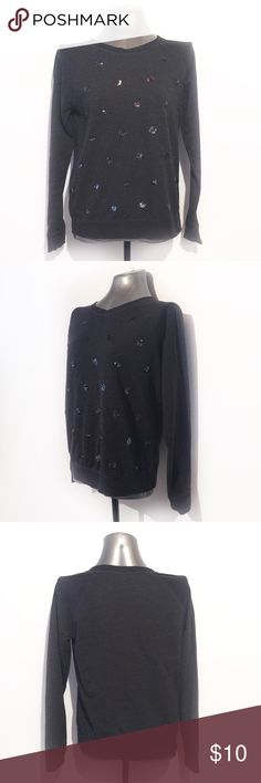 🔴BOGO FREE🔴 Charcoal Sequin Polka Dot Sweatshirt >Very good condition-no flaws<  *Crew neck *Long sleeves  *Sequin polka dots *Charcoal gray M  •NO TRADE/HOLD  •YES BUNDLES   •PLEASE ASK QUESTIONS & READ DESCRIPTIONS. Measurements and sizing recommendations are for guidance purposes only. I cannot guarantee fit❗️ Old Navy Tops Sweatshirts & Hoodies