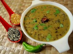 A simple,mildly spiced and rustic pigeon pea and split black lentil curry.