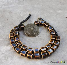 Brown Porcelain Necklace  Brown and Black Necklace by Spectrakraft, $41.25