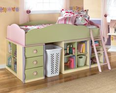 Doll House Loft Bedroom Set w/ Two Bottom Shelf Unts Signature Design By Ashley Furniture - Rooms And Things Low Loft Beds, Kids Bunk Beds, Girl Room, Girls Bedroom, Childs Bedroom, Bedrooms, Bedroom Loft, Bedroom Ideas, Bed Ideas