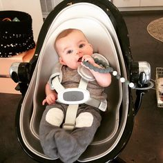 Time to chew on our favorite beads. @chewbeads @bloomglobal #newborn #ptbaby #teething #highchair #toocute