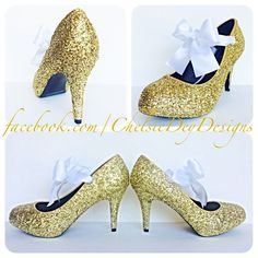 Gold Glitter High Heels, Low Platform Prom Pumps with White Bows