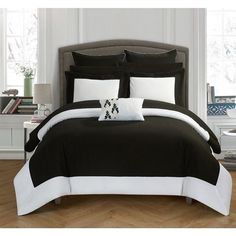 10 Piece King Black White Reversible Bed in a Bag Comforter Set Free Shipping