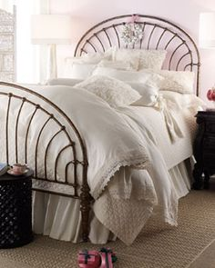 """Lili Alessandra """"Theresa"""" Bed Linens, clean crisp trimmed in lace & rosettes"""