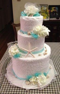 New Kitchen Bridal Shower Favors Towel Cakes 42 Ideas Backyard Bridal Showers, Beach Bridal Showers, Bridal Shower Rustic, Baby Showers, Bridal Shower Decorations, Bridal Shower Favors, Wedding Towel Cakes, Shower Towel, Bathroom Towels