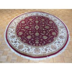 Hand Knotted Red Tabriz with Wool and Rug