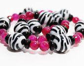 Mommy & Me Bracelets . Pink Zebra . Matching Set