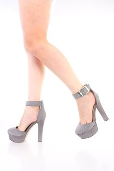 Grey Closed Toe Platform Chunky High Heels Faux Suede