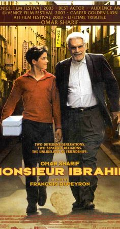 Directed by François Dupeyron.  With Omar Sharif, Pierre Boulanger, Gilbert Melki, Isabelle Renauld. In Paris, a Turkish shop owner befriends a Jewish boy in his mid-teens.