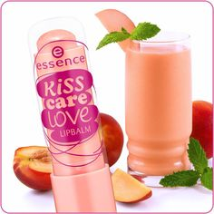 "hi beauties, our ""kiss care love"" lipbalms are so popular that we've developed a new flavor for you! ""06 peach smoothie"" has a super fruity fragrance and pampers your lips for a silky-smooth pout - even in the wintertime ""heart""-Emoticon  #essence #cosmetics #lips #lipcare #kisscarelove #lipbalm #peach #smoothie"