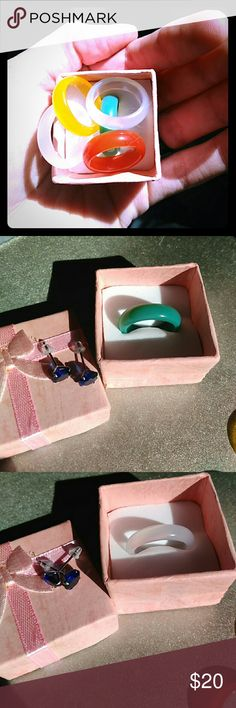 Beautiful Agate Jade Hand Carved Rings Unisex All size 7 ONLY but all very beautiful and unique great color variety and all hand carved from Agate Jade. Perfect for those whom have metal allergies and great substitute for regular wedding band. About 6mm in width.  I have 2 in Pink, 1 brown/red, 1 yellow, 1 in Green left. I don't suggest you do any vigorous activity or housework in these beauties just FYI :) Independent Jewelry Rings