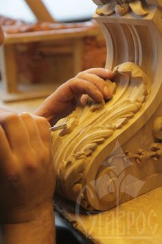 The process of detail carved bracket