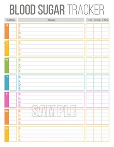 Blood Sugar Tracker Printable for Health by FreshandOrganized