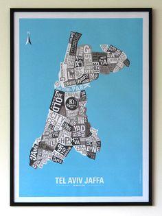 "Tel Aviv Typography Map   ""Tel Aviv State Hoods"" - Blue or Grey poster print"