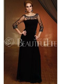 91aae65d328 Elegant Vintage Appliques Beading Scoop Neckline Sheer Panel Mother of the Bride  Dress Mothers Dresses