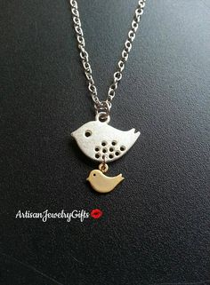 Mom and baby bird necklace