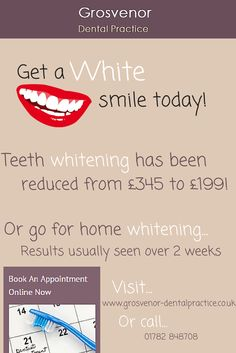 http://www.grosvenor-dentalpractice.co.uk/teeth-whitening-stoke-on-trent.html  Our Cosmetic Dentists in Stoke on Trent, Staffordshire offer teeth or tooth whitening in order to get back whiter, and brighter teeth  Grosvenor Dental Practice 736 London Road  Oakhill Stoke on Trent  Staffordshire ST4 5NP
