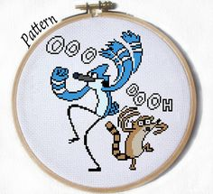 Mordecai & Rigby Regular Show Cross stitch by JuliefooStitches, $1.45