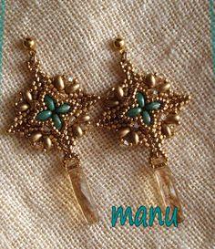 Super Square earrings beaded bym Manuela Flisi