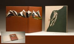 By Monique Lallier. Full leather guest book with inlays and onlays of leather. Clamshell box with leather onlay on the front panel. Private collection.