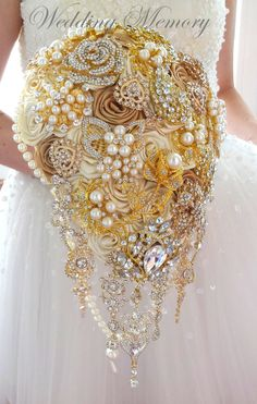Rose gold BROOCH BOUQUET in waterfall cascading by MemoryWedding