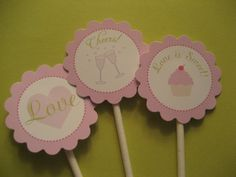 Cupcakes and Cocktails Theme Cupcake Toppers