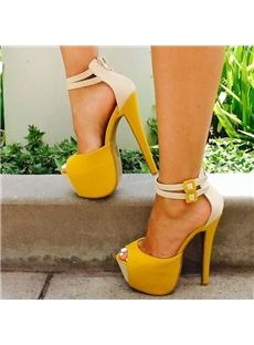 Amazing Contrast Color Ankle Strap PU Platform Sandals