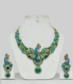 Peacock Design Costume Jewellery Set - Click Image to Close Jewelry Accessories, Fashion Accessories, Jewelry Design, Fashion Jewelry, Designer Jewellery, Turquoise Necklace, Beaded Necklace, Turquoise Rings, Garnet Necklace