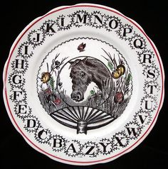 Black Transferware Alphabet ABC Plate ~ HORSE 1890