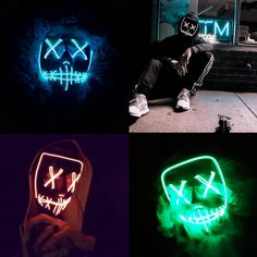 Yellow Tulas Light Up Purge Mask Stitched El Wire LED Halloween Rave Cosplay Props Supplies