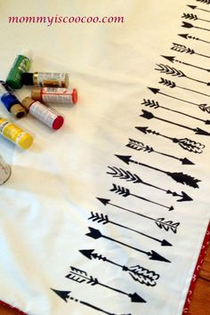 DIY Arrow Stencil Curtains - Mommy Is Coo Coo