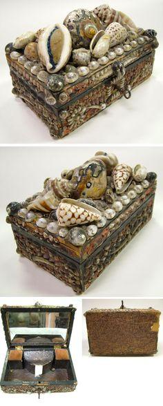 Victorian Shell Art Jewel Box Flower Pincushion Key