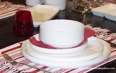 Red & White Striped Dinnerware French Bistro Inspired | The Decorating Diva, LLC
