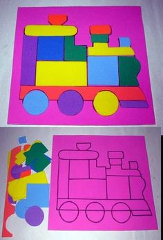 love these activities - shapes, train Train Activities, Toddler Learning Activities, Montessori Activities, Kids Learning, Activities For Kids, Art For Kids, Crafts For Kids, Transportation Crafts, Quiet Book Patterns