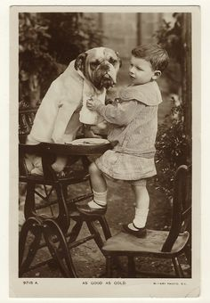 This vintage real photo postcard features a young child standing on a chair and helping his handsome English Bull Dog get settled in a high chair to be served a meal. The child is putting a bib on the dog. This photograph is incredibly cute. The postcard was published by the Rotary Photo Company and was part of a Rotary Photographic Series (no. 9715 A). The Rotary Photographic Company was founded in London in 1901. This particular postcard was probably published around 1910