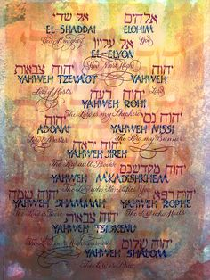 The Names Of God Written In Hebrew