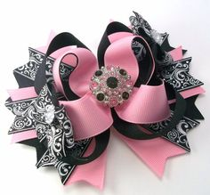 Black And Pink Hair Bow  Dressy Boutique by JustinesBoutiqueBows