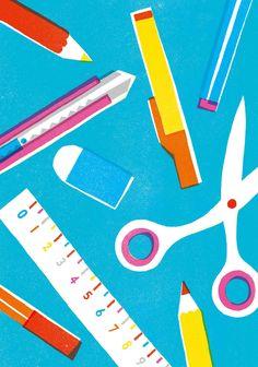 Yamauchi Kazuaki, design, screen print, bold colour, stationary, printmaking, illustration