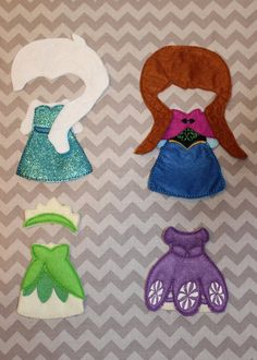 Princess dresses for felt paper dolls--Frozen, Princess and the Frog and Princess Sofia