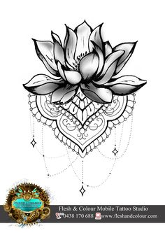 LOTUS AND LACE TATTOO DESIGN BY RHIANNON POPOVIC VISIT: www.fleshandcolour.com