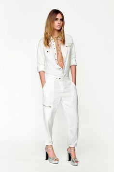 Jumpsuit bianco Topshop, collezione Primavera/Estate 2015: tuta in total white