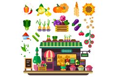 Farm shop with natural food for vega Graphics Farm shop: vegetables and fruits. Natural food, vegan lifestyle, count with food, autumn harvest. Ve by TastyVector Kawaii Illustration, Graphic Illustration, Vector Illustrations, Design Typography, Graphic Design Art, Food Court Design, Texture Web, Food Kiosk, Fruit Icons