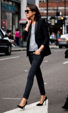 Tux Jacket, tee, Black Skinnies & Stilettos.